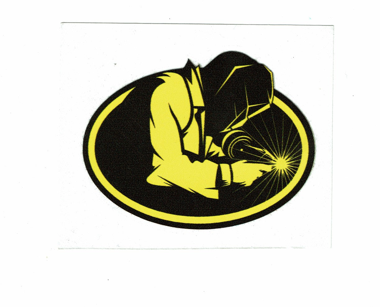 Yellow and Black Oval Welder Sticker