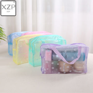 Floral Transparent Waterproof Cosmetic Bag - Portable Makeup Cosmetic Toiletry Travel