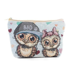 Owl Printed Cosmetic Bag Women Makeup  - Beauty Organizer Pouch Canvas Makeup Bag