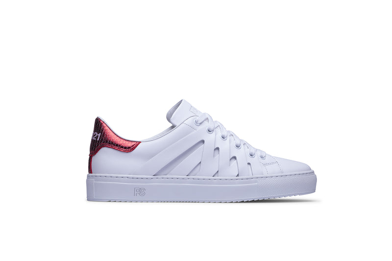 PS821 ALPHA Low-Top Sneaker in White Leather with Red Exotic Print accent