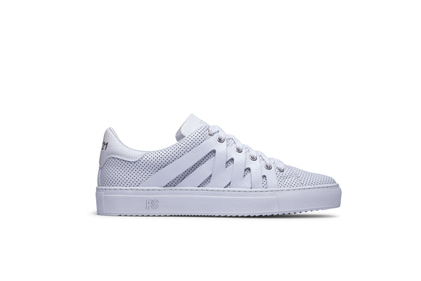 PS821 ALPHA Low-Top Sneaker in White Perforated Leather