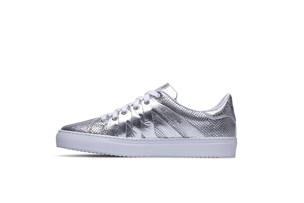 PS821 ALPHA Low-Top Sneaker in Metallic Perforated Leather
