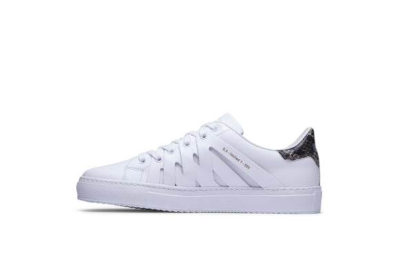PS821 ALPHA Low-Top Sneaker in White Leather with Exotic Snakeskin accent