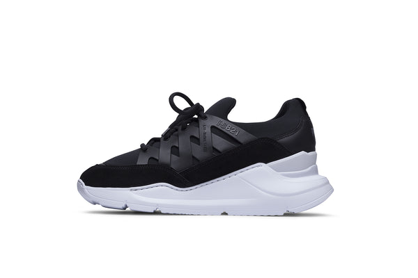 PS821 BOLT Trainer Sneaker in Black Neoprene with Black Leather, Suede and TPU accents