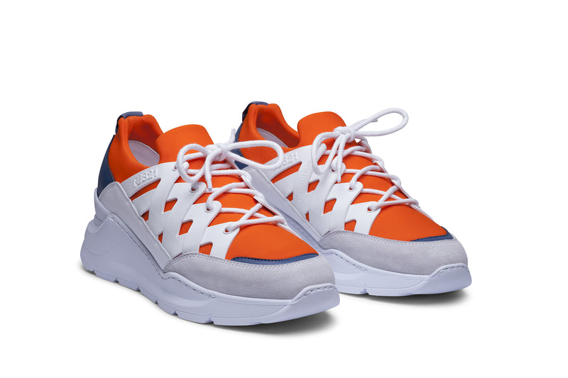 PS821 BOLT Trainer Sneaker in Orange Neoprene with White TPU and Blue accents