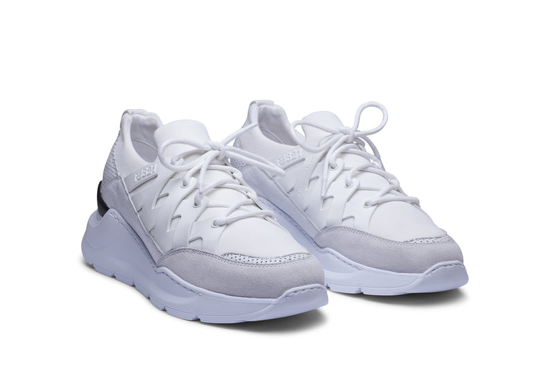 PS821 BOLT Trainer Sneaker in White Neoprene with White Leather, Suede and TPU accents