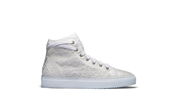 PS821 White Cotton Terry Cloth High-Top Sneaker