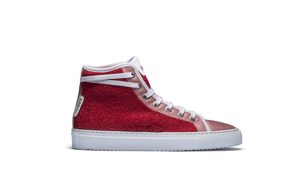 PS821 Apple Red Terry Cloth High-Top Sneaker