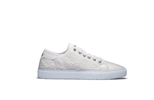 PS821 Cotton White Terry Cloth Low-Top Sneaker