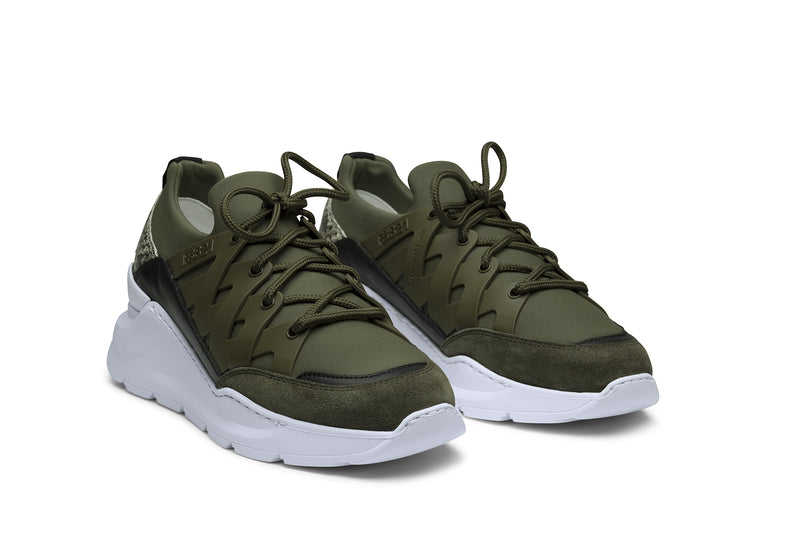 PS821 BOLT Trainer Sneaker in Green Neoprene with Green TPU and Exotic Snakeskin accents