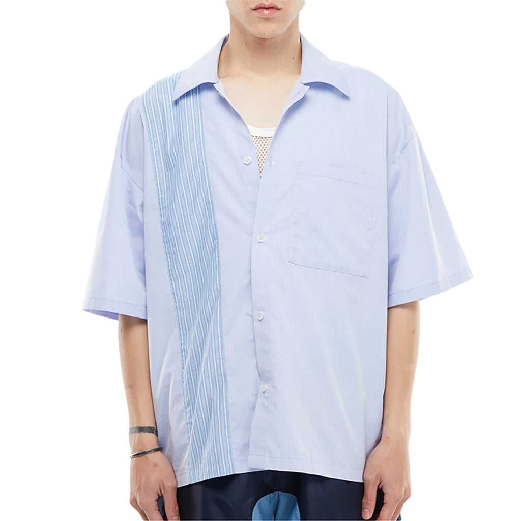 SPLICED SHORT SLEEVE SHIRT (BLUE)
