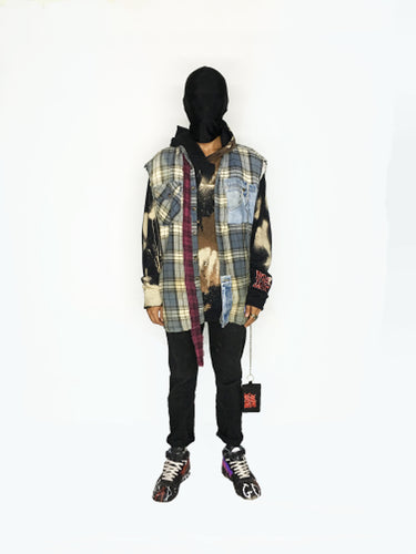 RECONSTRUCTED FLANNEL HOODIE