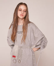 0 3 shirring sweat shirt dress - GREY