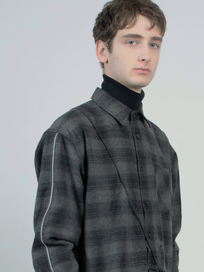 reflective wool check shirt