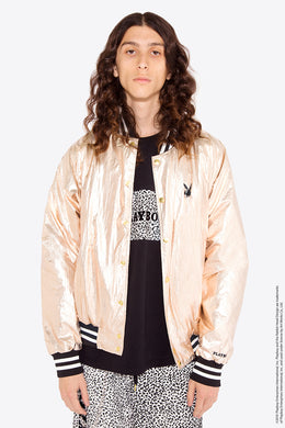 Playboy Metallic Bomber Jacket / L/GOLD