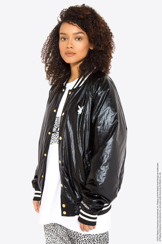 Playboy Metallic Bomber Jacket / BLACK