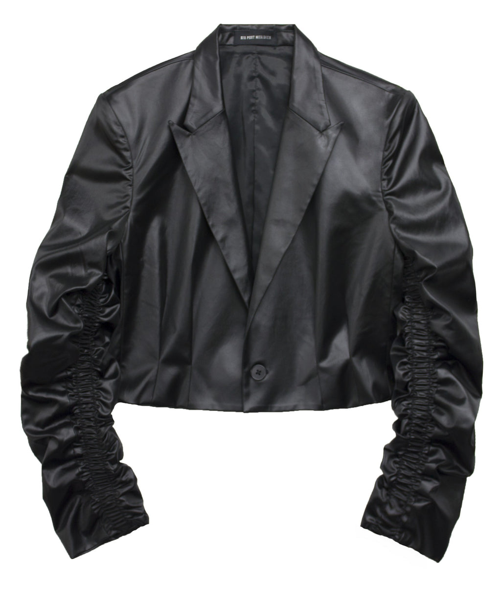 ショート丈ブレザー / Cropped blazer with sleeve design