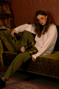 Yellow check Mixed Pants