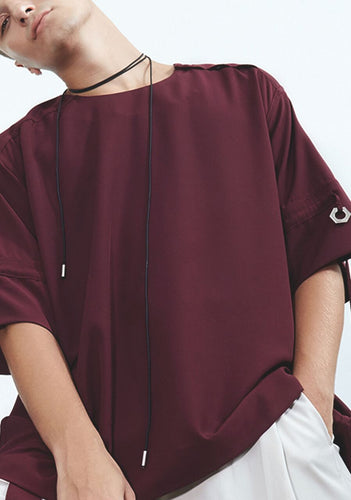 High Round Silver-Point Blouse with Ringed Sleeves - BURGUNDY