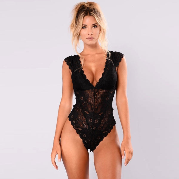 New Fashion Lace transparent bodysuits 2020 sexy lady bodysuit women clothes Solid strap female jumpsuit ropa mujer body mujer