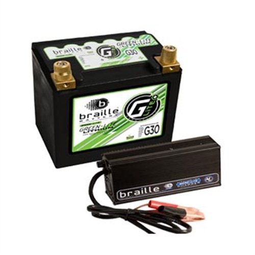 Braille Battery Green-Lite Lithium Ion 12-Volt Battery and Charger Combo BCI Group Size: 30