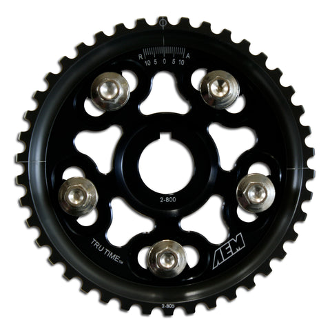 Tru-Time Adjustable Cam Gear, Black Anodized, 5-Bolt Design, Fits Honda D15B7, D16A6 and D16Z6 Engin