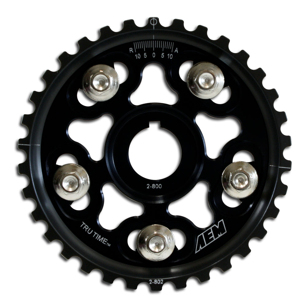 Tru-Time Adjustable Cam Gear, Black Anodized, 5-Bolt design, Fits Acura B17A1, B18A1, B18B1, B18C1 a