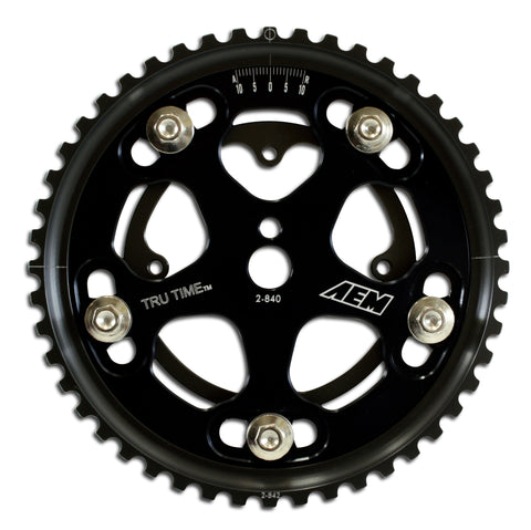 Tru-Time Adjustable Cam Gear, Black Anodized, 5-Bolt design, Fits Eagle VIN:E, VIN:F  and VIN:U engi