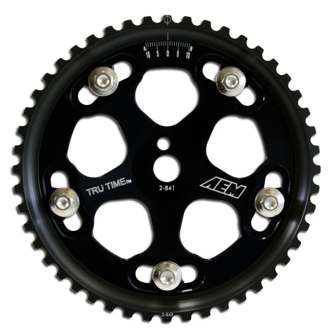 Tru-Time Adjustable Cam Gear, Black Anodized, 5-Bolt design, Fits Mitsubishi 4G63 engine