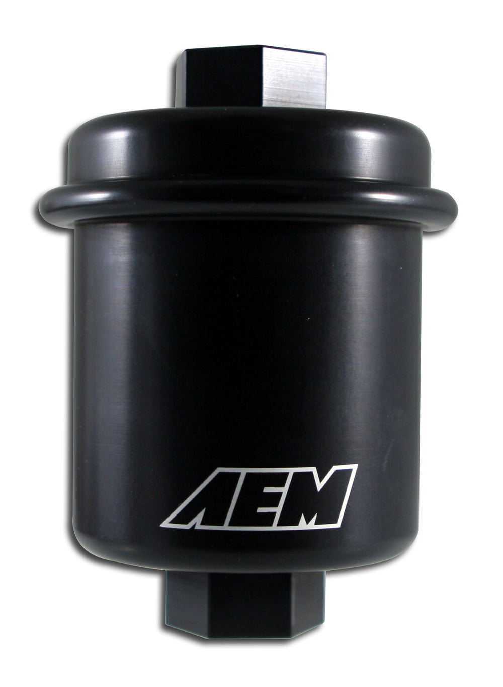 High Volume Fuel Filter, Black Anodized, Fits Acura & Honda, Inlet: 14mm X 1.5, Outlet: 12mm X 1.25