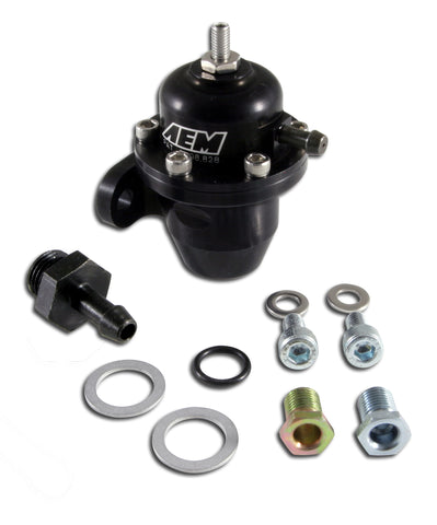 Adjustable Fuel Pressure Regulator, Black Anodized, Acura and Honda Inline Flange with Straight Retu