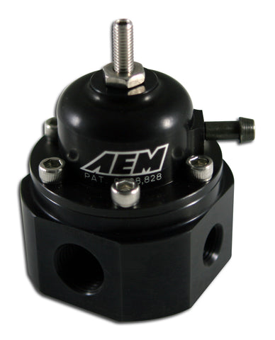 Universal Adjustable Fuel Pressure Regulator, Black Anodized, Inlet 2 X -6 (9/16-18), Outlet -6 (9/1