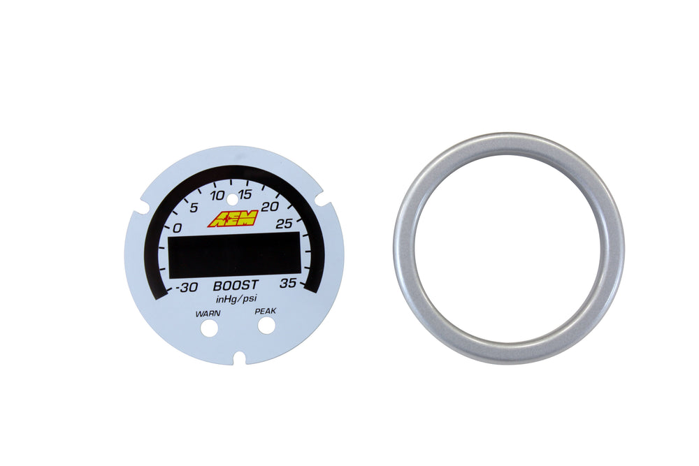 X-Series Boost Pressure Gauge -30inHg-35psi - -1-2.5bar Accessory Kit, Silver Bezel and White Facepl