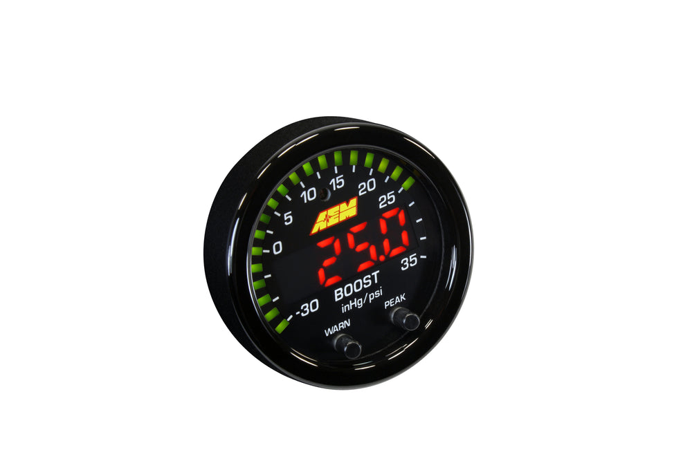 X-Series Boost Pressure Gauge -30inHg-35psi - -1-2.5bar, Black Bezel and Black Faceplate