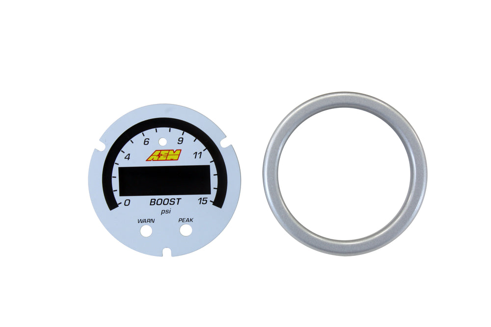 X-Series Pressure Gauge 0-15psi Accessory Kit, Silver Bezel and Reversible White Boost or Fuel Press