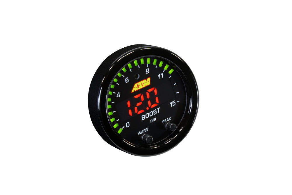 X-Series Pressure Gauge 0-15psi, Black Bezel and Reversible Black Boost or Fuel Pressure Faceplate