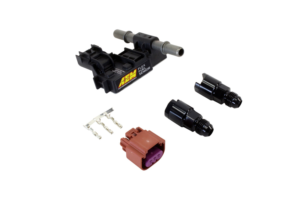 Ethanol Content Flex Fuel Sensor Kit with -6 AN Fittings, Includes Flex Fuel Content Sensor, -6 AN F