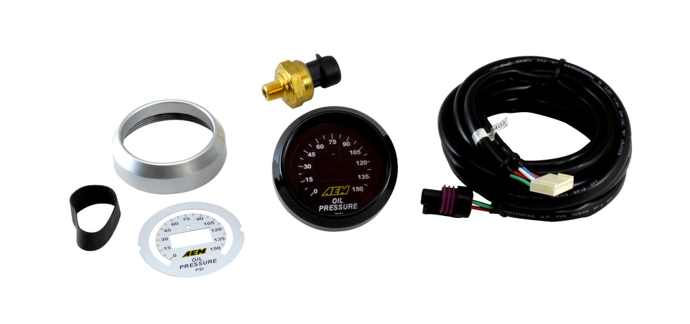 Digital Oil Pressure Gauge, 0-150psi, incl blk and wht faces, blk and silvr bezels