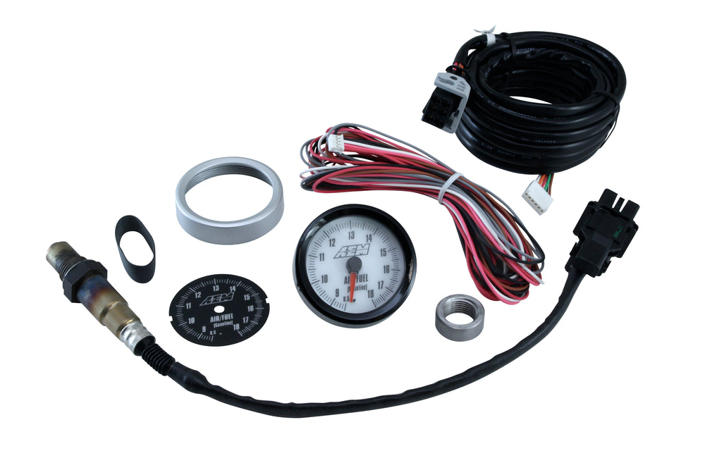 Analog Style Wideband UEGO Gauge, 8.5-18 Gasoline AFR, incl blk and wht faces, blk and silvr bezels