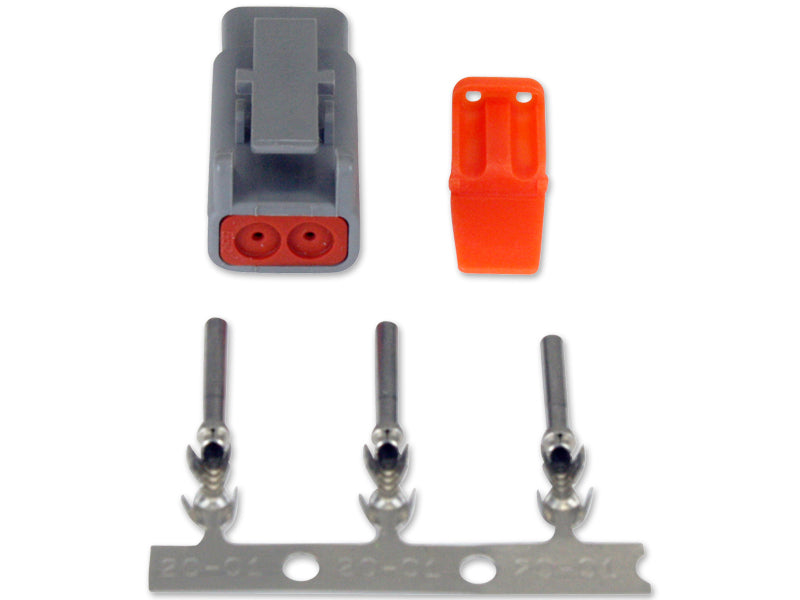 DTM-Style 2-Way Plug Connector Kit, Includes Plug, Plug Wedge Lock and 3 Female Pins