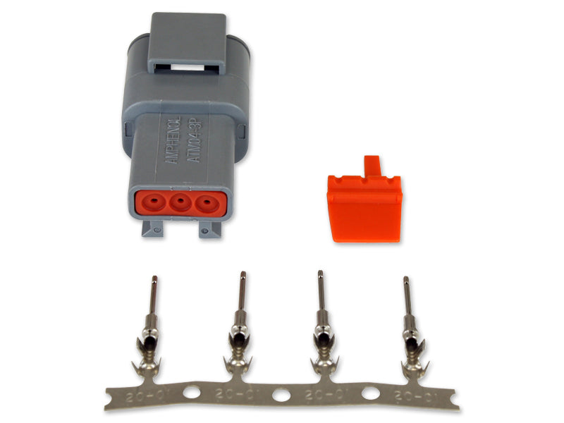 DTM-Style 3-Way Receptacle Connector Kit, Includes Receptacle, Receptacle Wedge Lock and 4 Male Pins