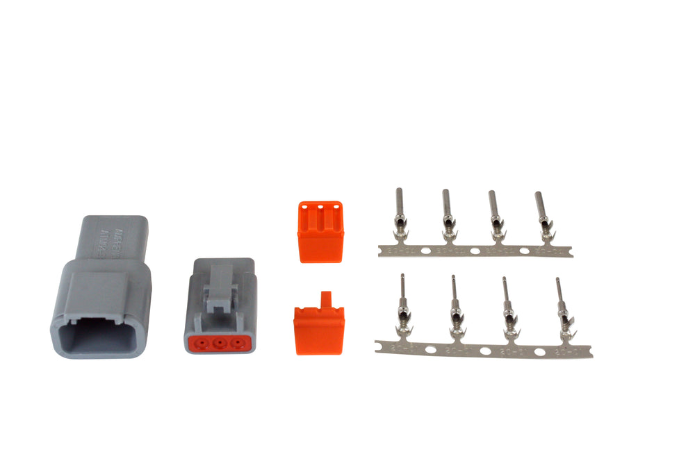 DTM-Style 3-Way Connector Kit, Includes Plug, Receptacle, Plug Wedge Lock, Receptacle Wedge Lock, 4