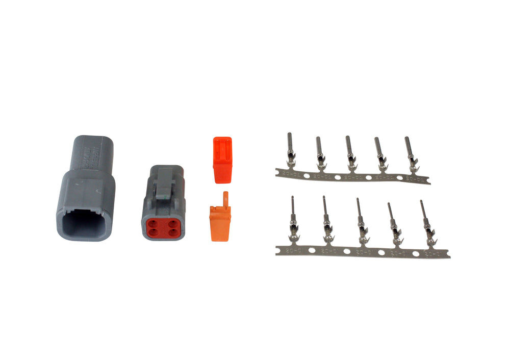 DTM-Style 4-Way Connector Kit, Includes Plug, Receptacle, Plug Wedge Lock, Receptacle Wedge Lock, 5
