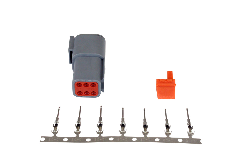 DTM-Style 6-Way Receptacle Connector Kit, Includes Receptacle, Receptacle Wedge Lock and 7 Male Pins