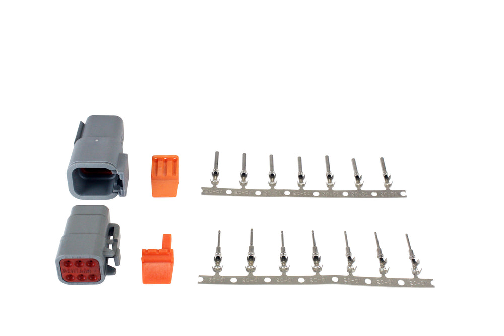 DTM-Style 6-Way Connector Kit, Includes Plug, Receptacle, Plug Wedge Lock, Receptacle Wedge Lock, 7
