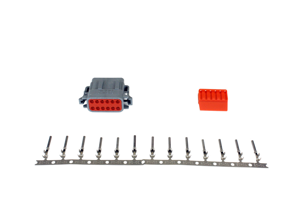 DTM-Style 12-Way Plug Connector Kit, Includes Plug, Plug Wedge Lock and 13 Female Pins
