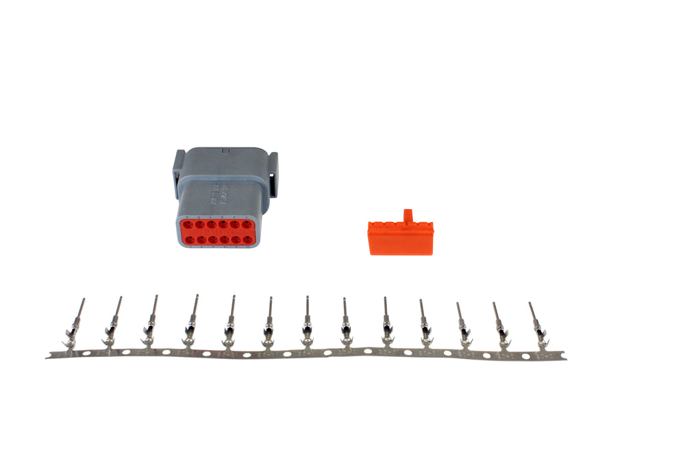 DTM-Style 12-Way Receptacle Connector Kit, Includes Receptacle, Receptacle Wedge Lock and 13 Male Pi