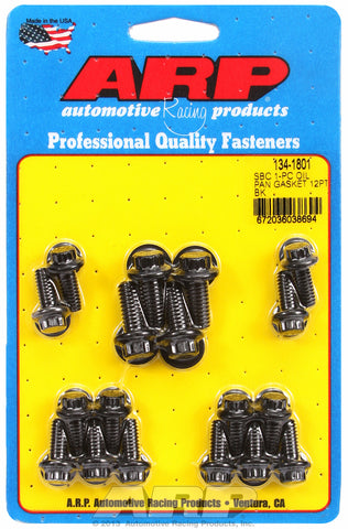 12-Pt Head Black Oxide Oil Pan Bolt Kit for Chevrolet 265-400 cid (w/ 1-pc. rubber gasket)
