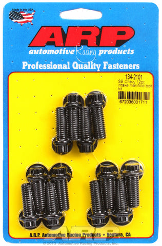 12-Pt Head Black Oxide Intake Manifold Bolts for Chevrolet 265-400 cid, factory OEM, 1.000˝, 12 piec