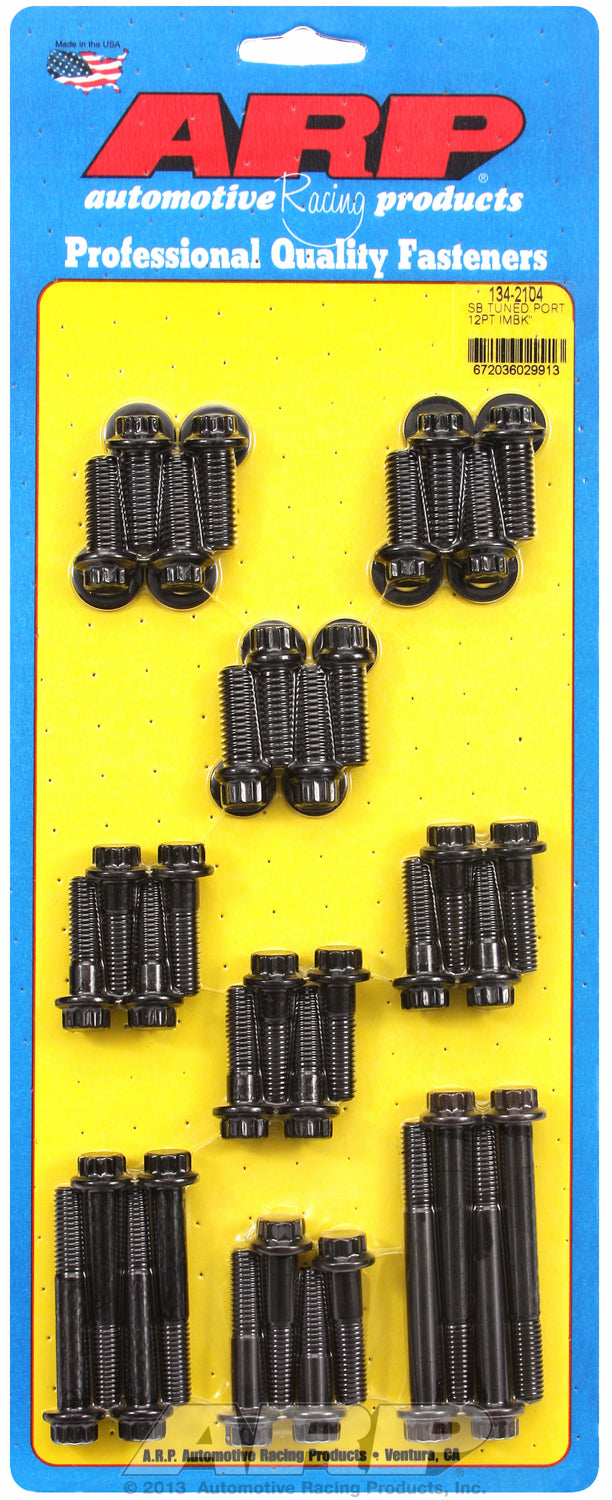 12-Pt Head Black Oxide Intake Manifold Bolts for Chevrolet 305-350 Tuned Port